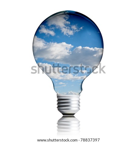 eco energy concept. light bulb with sky in the bulb
