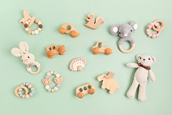Eco fiendly child wooden toys. Sustainable, developmental, sensory toys for babies