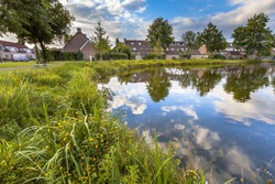 Eco friendly bank of pond with gentle slope to stimulate growth of wildflowers and swamp vegetation in a recreational ecological park in Soest, Netherlands