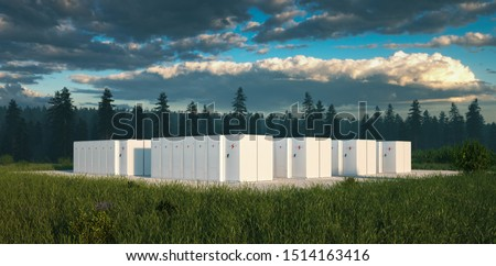 Eco friendly battery energy storage system in nature with misty forest in background and fresh grassland in foreground. 3d rendering. Stock photo ©