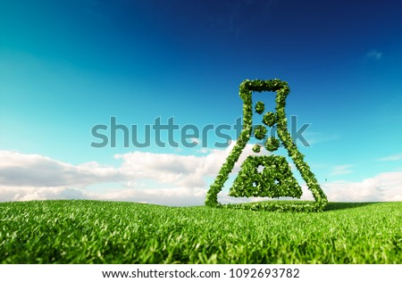 Eco friendly, bio, no waste, zero pollution, pesticide free agriculture or/and biofuel concept. 3d rendering of thumbs up icon on fresh spring meadow with blue sky in background.