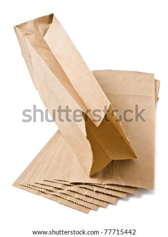 Eco friendly brown paper bag on white