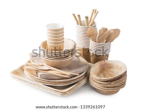 Eco friendly disposable tableware isolated on a white background