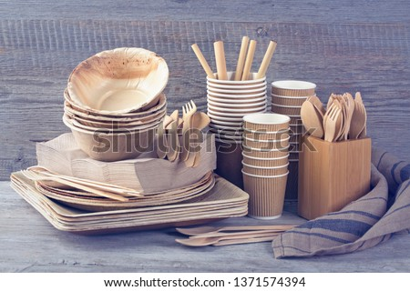 Eco friendly disposable tableware on a grey background