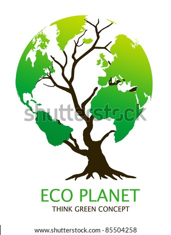 "Eco-friendly ""earth tree"" illustration. Green environment concept"