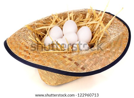eco-friendly eggs in hat isolated on white