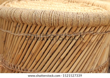 Eco friendly Handicraft Hand-Woven Bamboo and Rope Mudda Chair for Indoor and Outdoor Furnishings Cane Bar Stool Closeup #1521527339