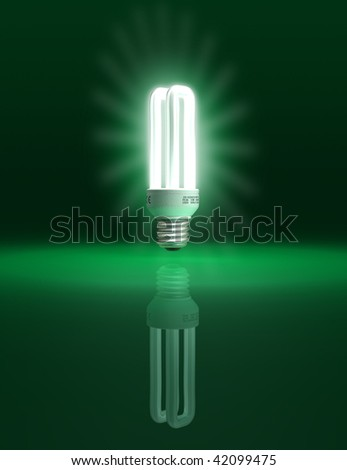 Eco friendly light bulb on green background - conceptual illustration - clipping path included - stock photo