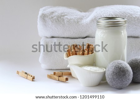 Eco friendly natural laundry supplies. Copy space. #1201499110
