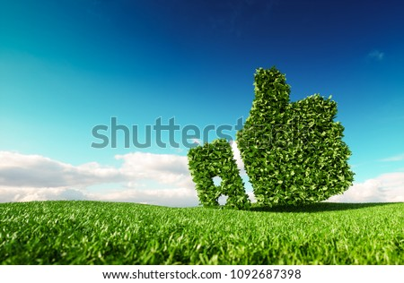 Eco friendly, no waste, zero pollution, climate control agreement concept. 3d rendering of thumbs up icon on fresh spring meadow with blue sky in background.