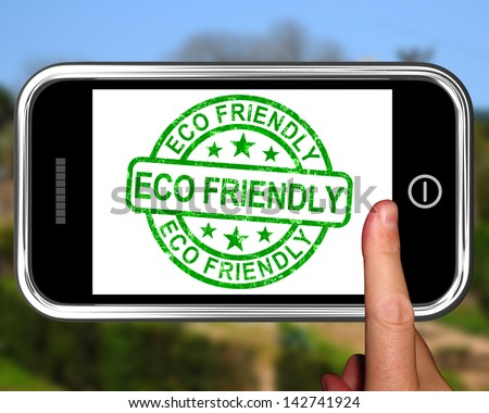 Eco Friendly On Smartphone Shows Recycling And Environmental Care