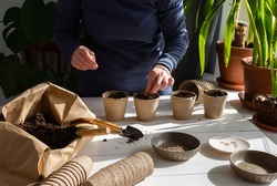 Eco friendly pots for planting seeds, paper bag with ground and garden trowel and rakes, tomato seeds, a woman is planting seedlings at home