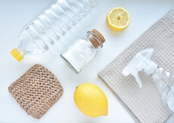 Eco friendly products for home cleaning, zero waste lifestyle, flat lay on white background.
