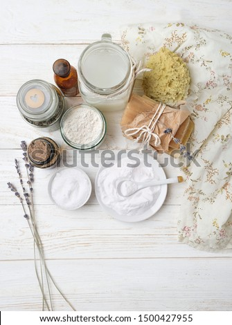 Eco friendly products for home cleaning. zero waste lifestyle. Ingredient DIY - essential oil, salt, bath soap, soda, lavender. Natural cosmetic cleaning and care product