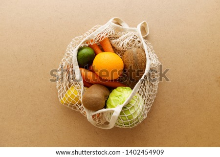 Eco friendly reusable mesh string knitted shopping bag with fruits and vegetables, zero waste #1402454909