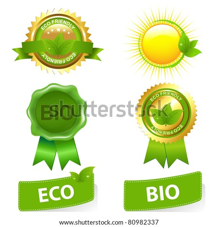 Eco Friendly Set, Isolated On White Background, Vector Illustration