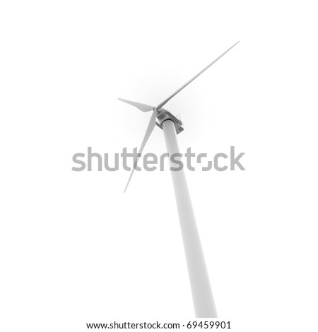 Eco friendly wind turbine looking up from below isolated on white background for Earth Day environmental concept.