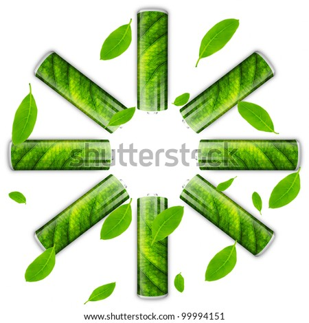 Eco green energy battery circle and green leafs.