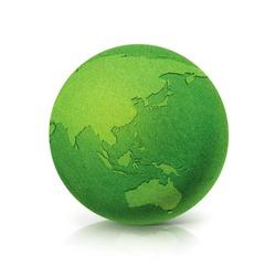 ECO Green globe Asia & Australia map on white background