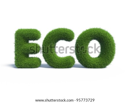 eco green grass in the form of letters