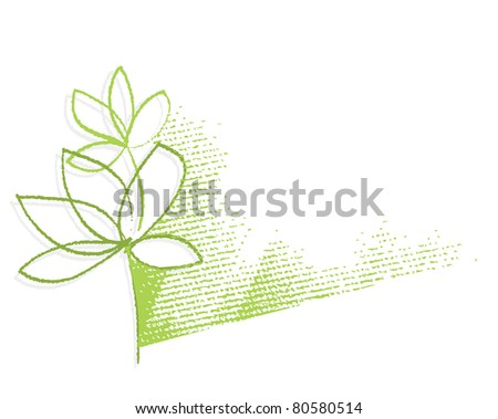 Eco - green plant motive (simple linear drawing, chalk technique, textured grunge background)  (raster version)