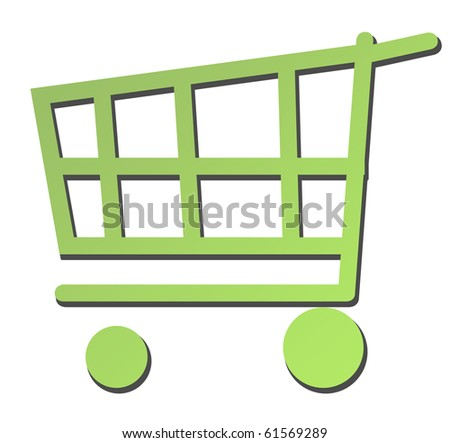 Eco green shopping trolley or cart isolated on white background.