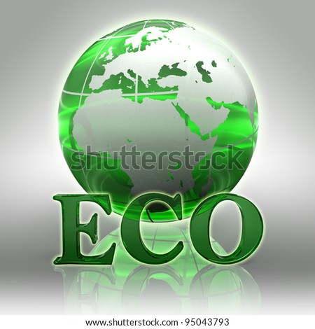 eco green word and earth globe glass logo with clipping path