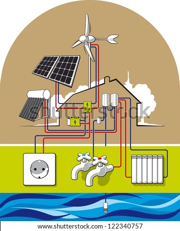 Eco house. Illustration of energy-independent housing.