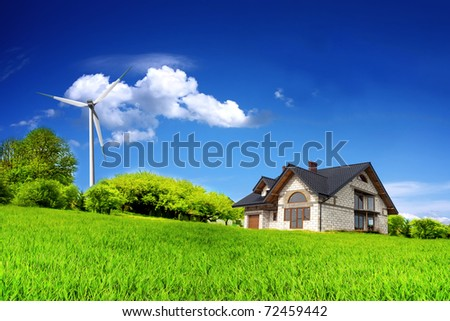 Eco House on a green hill