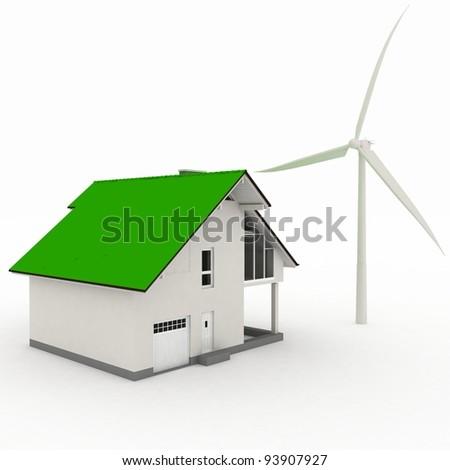 Eco house with wind turbine , environmentally friendly - stock photo