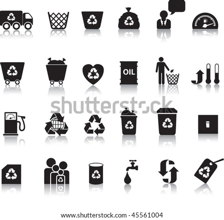 Eco icon set illustrated as black silhouettes with reflection