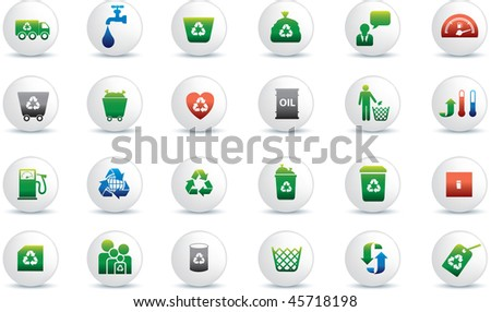 Eco icon set illustrated as white buttons