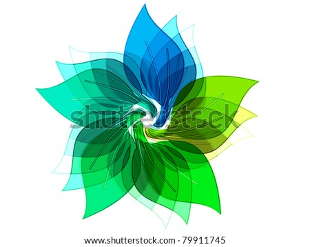 eco leaves logo made of colored glas / green leaves / isolated on white