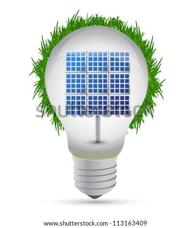 eco lightbulb and solar panel illustration design