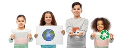 eco living, environment and sustainability concept - smiling girl holding drawing of earth planet over white background