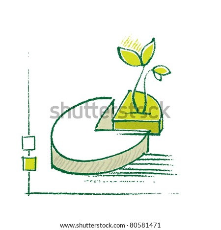 Eco motive, pie-chart and a little plant (simple chalk technique, textured grunge background) (raster version) - stock photo