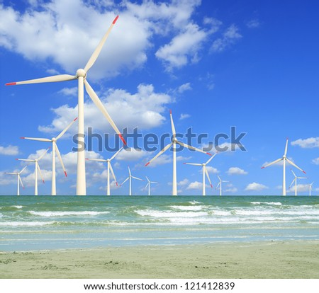 Eco power, wind turbines in the sea