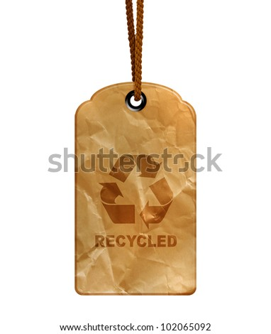 Eco recycle tag isolated on white background with path.