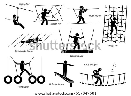 Stock Photo Eco Resort Activities. Artworks depict games at eco resort which includes flying fox, spider net, high ropes walk, cargo net climbing, crawl, hanging log, tire swing, balance beam, and rope bridges.