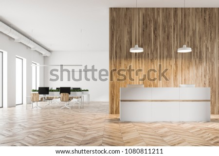 Eco style office interior with white and wooden walls, a white reception and an open space work area. 3d rendering mockup
