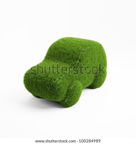 Eco transport concept illustration - 3d grass covered car icon