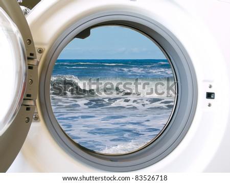 eco washing machine - ecology friendly technology - stock photo