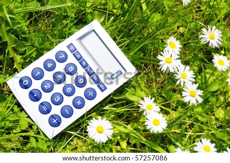 ecological accounting concept with calculator in green grass