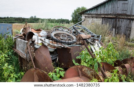 Ecological concept. A pile of scrap metal. Metal for recycling. Metal waste dump. Parts of parts, residues of industry