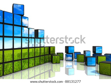 Ecological concept: cubes from wall with natural landscape scattered on white reflective background