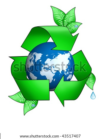 ecological earth; Recycle Symbol - Air, Water, Earth