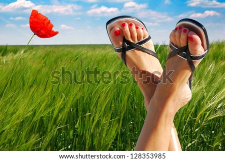 ecological feet crossed with poppy