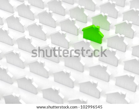 Ecological green house between generic white houses - stock photo