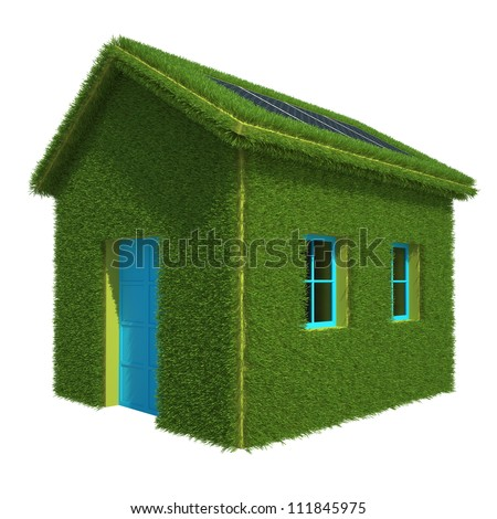 Ecological House with grass Solar Power Station