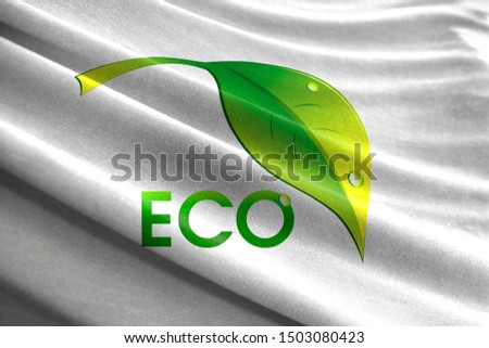 Ecological logo shown on wavy fabric. The Concept of Ecology with Environmental Pollution from Domestic and Industrial Waste. #1503080423